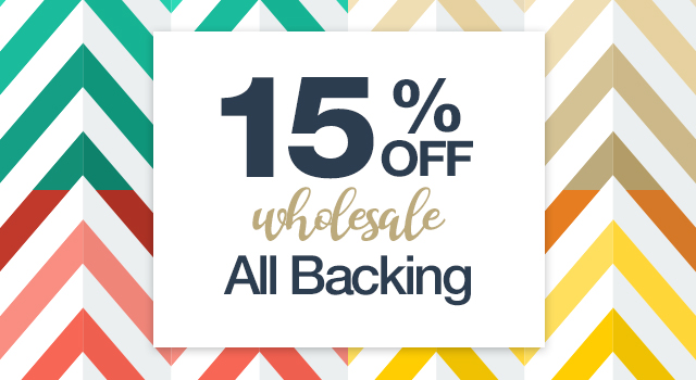 20% off* specialty backing