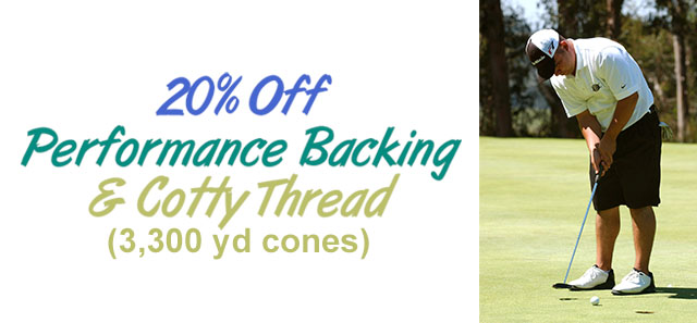 20% off performance backing and cotty thread 3300 yd cones