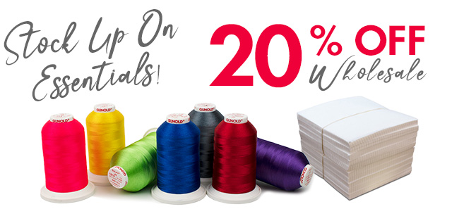 stock up on Essentials 20% off wholesale